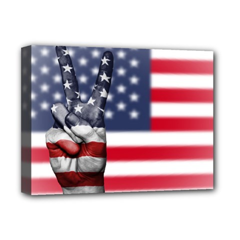 United State Flags With Peace Sign Deluxe Canvas 16  X 12   by goodart
