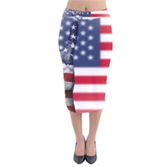 United State Flags With Peace Sign Velvet Midi Pencil Skirt