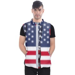 United State Flags With Peace Sign Men s Puffer Vest