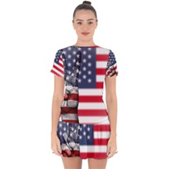 United State Flags With Peace Sign Drop Hem Mini Chiffon Dress