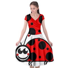 Lady Bug Clip Art Drawing Cap Sleeve Wrap Front Dress