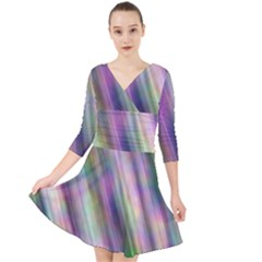 Gradient With Resynthetize Texture Quarter Sleeve Front Wrap Dress