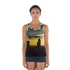 Skyline Sunset Buildings Cityscape Sport Tank Top