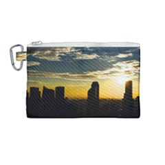 Skyline Sunset Buildings Cityscape Canvas Cosmetic Bag (medium)