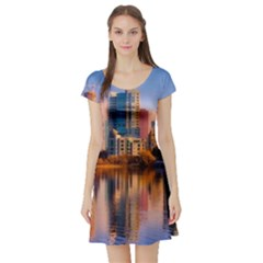 Vancouver Canada Sea Ocean Short Sleeve Skater Dress