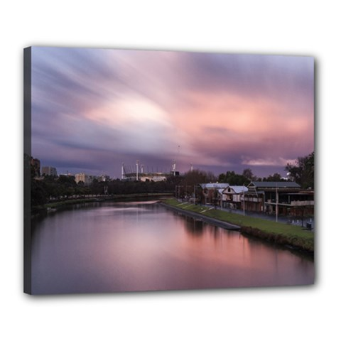 Sunset Melbourne Yarra River Canvas 20  X 16  by Simbadda