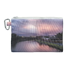 Sunset Melbourne Yarra River Canvas Cosmetic Bag (large) by Simbadda