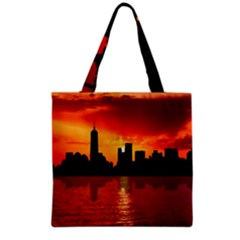 Skyline New York City Sunset Dusk Grocery Tote Bag