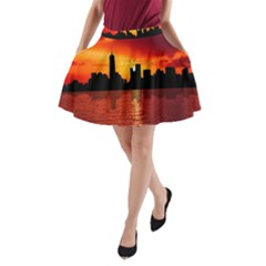 Skyline New York City Sunset Dusk A Line Pocket Skirt by Simbadda