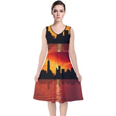 Skyline New York City Sunset Dusk V Neck Midi Sleeveless Dress