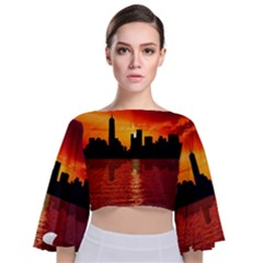 Skyline New York City Sunset Dusk Tie Back Butterfly Sleeve Chiffon Top