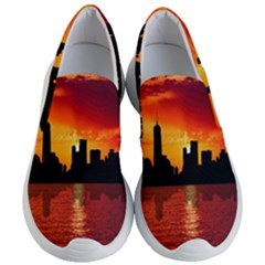 Skyline New York City Sunset Dusk Women s Lightweight Slip Ons