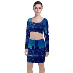 Skyscrapers City Skyscraper Zirkel Long Sleeve Crop Top & Bodycon Skirt Set by Simbadda