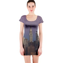 Skyline City Manhattan New York Short Sleeve Bodycon Dress by Simbadda
