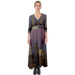 Skyline City Manhattan New York Button Up Boho Maxi Dress