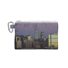 Skyline City Manhattan New York Canvas Cosmetic Bag (small) by Simbadda