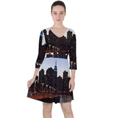 New York City Skyline Building Ruffle Dress