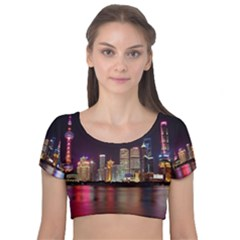 Building Skyline City Cityscape Velvet Short Sleeve Crop Top