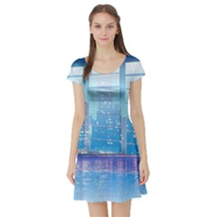 Skyscrapers City Skyscraper Zirkel Short Sleeve Skater Dress