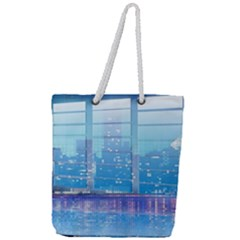 Skyscrapers City Skyscraper Zirkel Full Print Rope Handle Tote (large)