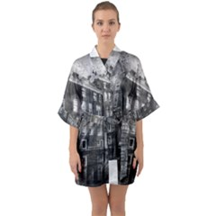 Reflection Canal Water Street Quarter Sleeve Kimono Robe