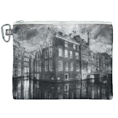 Reflection Canal Water Street Canvas Cosmetic Bag (xxl)