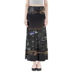 City At Night Lights Skyline Full Length Maxi Skirt