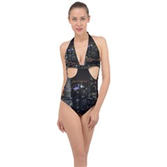 City At Night Lights Skyline Halter Front Plunge Swimsuit