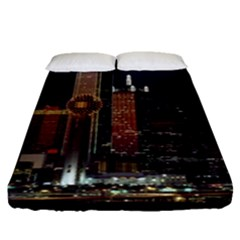 Dallas Texas Skyline Dusk Usa Fitted Sheet (queen Size) by Simbadda