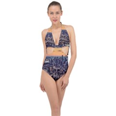 New York Skyline Architecture Nyc Halter Front Plunge Swimsuit