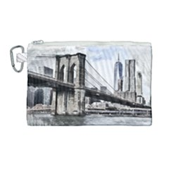 City Skyline Skyline City Cityscape Canvas Cosmetic Bag (large) by Simbadda