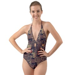 New York City Skyline Nyc Halter Cut Out One Piece Swimsuit