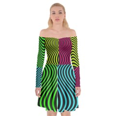 Ghost Gear   80 s Trip   Off Shoulder Skater Dress by GhostGear