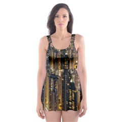 Panorama Urban Landscape Town Center Skater Dress Swimsuit