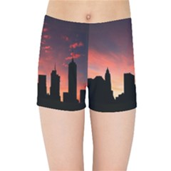 Skyline Panoramic City Architecture Kids Sports Shorts