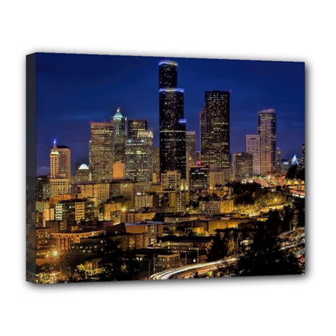 Skyline Downtown Seattle Cityscape Canvas 14  X 11