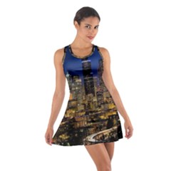 Skyline Downtown Seattle Cityscape Cotton Racerback Dress