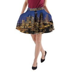 Skyline Downtown Seattle Cityscape A Line Pocket Skirt by Simbadda