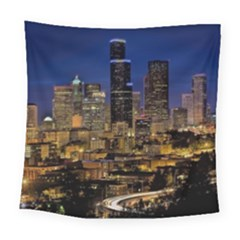 Skyline Downtown Seattle Cityscape Square Tapestry (large) by Simbadda