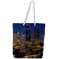 Skyline Downtown Seattle Cityscape Full Print Rope Handle Tote (large)