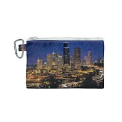 Skyline Downtown Seattle Cityscape Canvas Cosmetic Bag (small) by Simbadda