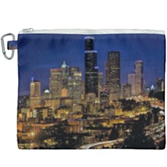Skyline Downtown Seattle Cityscape Canvas Cosmetic Bag (xxxl) by Simbadda