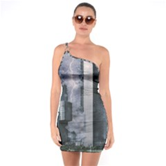 Digital Art City Cities Urban One Soulder Bodycon Dress