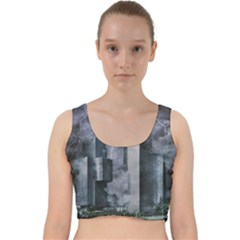 Digital Art City Cities Urban Velvet Racer Back Crop Top