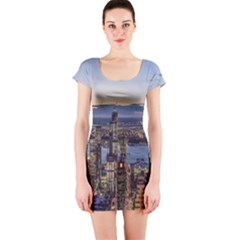Panoramic City Water Travel Short Sleeve Bodycon Dress