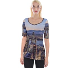 Panoramic City Water Travel Wide Neckline Tee