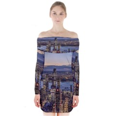 Panoramic City Water Travel Long Sleeve Off Shoulder Dress