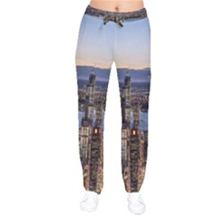 Panoramic City Water Travel Velvet Drawstring Pants
