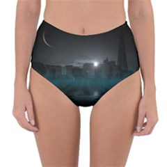 Skyline Night Star Sky Moon Sickle Reversible High Waist Bikini Bottoms