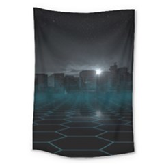 Skyline Night Star Sky Moon Sickle Large Tapestry by Simbadda